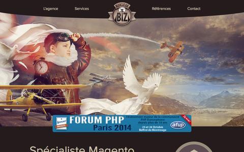 Screenshot of Home Page monsieurbiz.com - Agence Spécialiste Magento - Monsieur Biz - captured Sept. 30, 2014