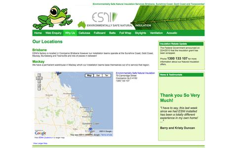 Screenshot of Locations Page naturalinsulation.com.au - Locations - Brisbane Environmentally Safe Natural Insulation - captured Oct. 2, 2014