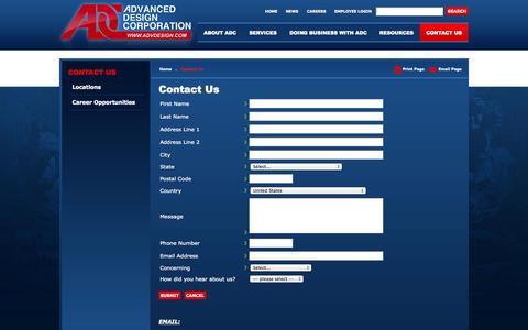 Screenshot of Contact Page advdesign.com - Contact Us | Advanced Design Corporation, Lorton Virginia - captured Oct. 4, 2014