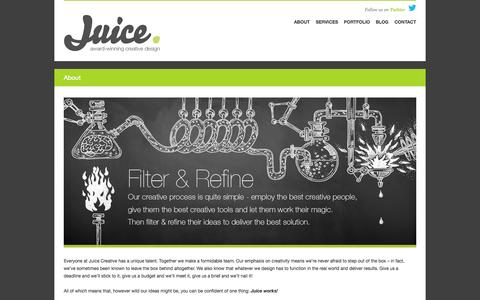 Screenshot of About Page juice.eu.com - Juice Creative | About - captured Oct. 27, 2014