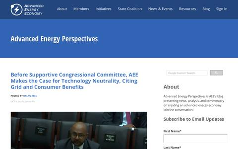 Screenshot of Blog aee.net - Advanced Energy Perspectives - captured Oct. 7, 2017