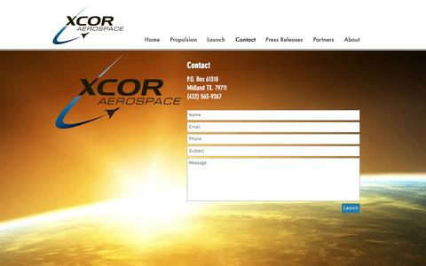 Screenshot of Contact Page xcor.com - xcor | Contact - captured May 9, 2017