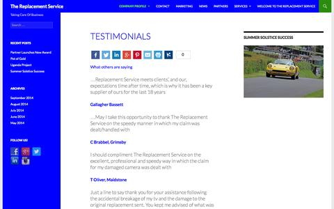Screenshot of Testimonials Page trsclaims.co.uk - Testimonials | The Replacement Service - captured Nov. 5, 2014