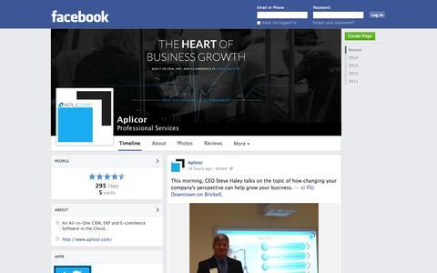 Screenshot of Facebook Page facebook.com - Aplicor - Boca Raton, FL - Professional Services | Facebook - captured Oct. 22, 2014