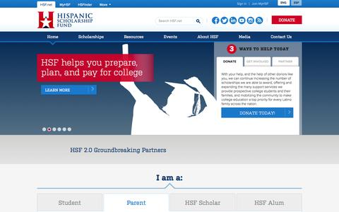 Screenshot of Home Page hsf.net - Welcome to Hispanic Scholarship Fund | HSF - captured Jan. 22, 2015