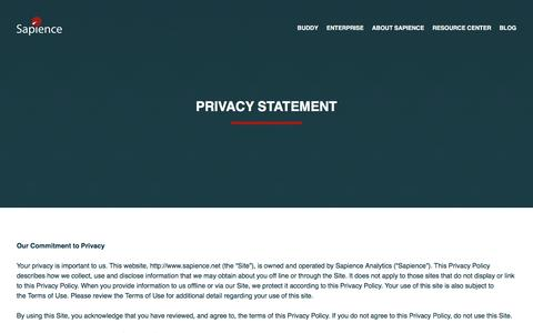 Screenshot of Privacy Page sapience.net - Privacy Statement | Sapience - captured Feb. 4, 2016