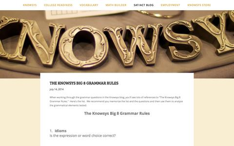 Screenshot of Blog myknowsys.com - SAT/ACT Blog — Knowsys Educational Services - captured Oct. 6, 2014