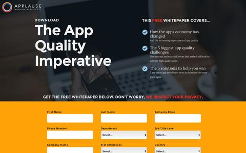 Screenshot of Landing Page applause.com - The App Quality Imperative Whitepaper - Applause: 360° App Quality - captured March 15, 2016
