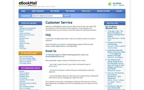 Screenshot of Support Page ebookmall.com - Customer Service - eBookMall - captured Sept. 19, 2014