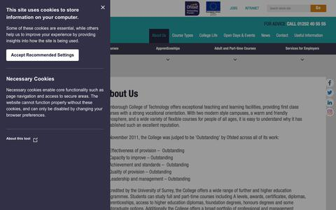 Screenshot of About Page farn-ct.ac.uk - About Us - Farnborough College of Technology - captured Nov. 14, 2018