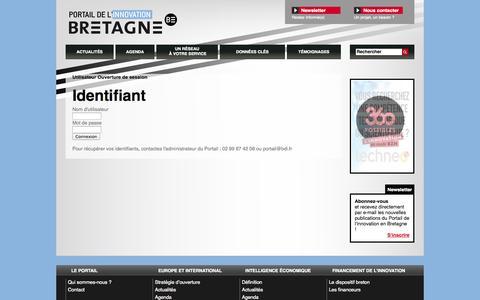 Screenshot of Login Page bretagne-innovation.tm.fr - Ouverture de session / Utilisateur - Portail de l'innovation en Bretagne - captured Sept. 30, 2014