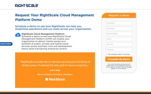 Screenshot of Landing Page rightscale.com - RightScale Cloud Management Platform Demo - captured April 21, 2017