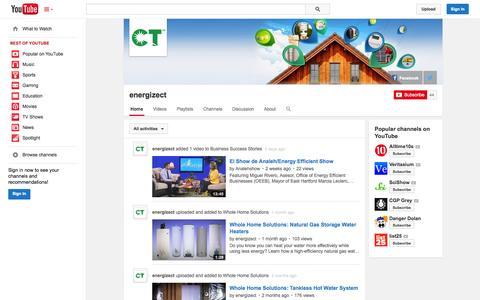 Screenshot of YouTube Page youtube.com - energizect  - YouTube - captured Nov. 2, 2014