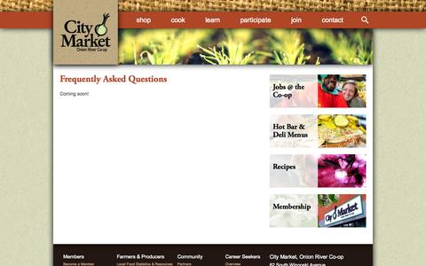 Screenshot of FAQ Page citymarket.coop - Frequently Asked Questions | City Market / Onion River Co-op - captured Sept. 29, 2014