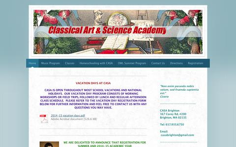 Screenshot of Home Page classicalartandscienceacademy.com - Home - - captured Oct. 2, 2014