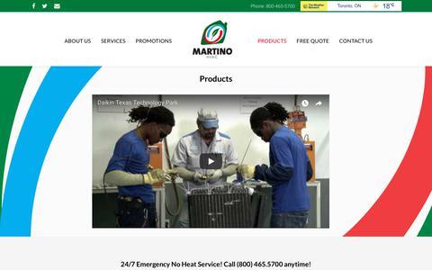 Screenshot of Products Page martinohvac.com - Products - Martino HVAC - captured Oct. 17, 2017