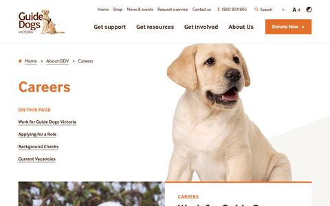 Screenshot of Jobs Page guidedogsvictoria.com.au - Careers - Guide Dogs Victoria - captured May 25, 2017