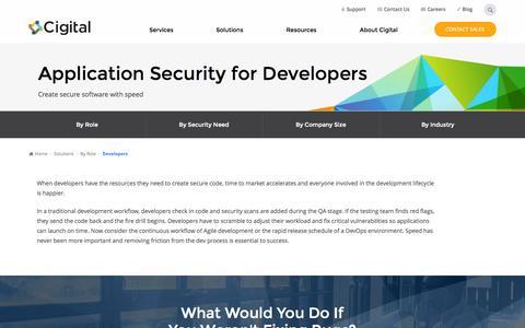 Screenshot of Developers Page cigital.com - Build Secure Code, Fast for Software Developers | Cigital - captured Nov. 14, 2015