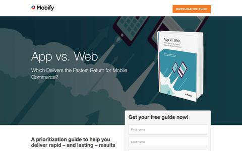 Screenshot of Landing Page mobify.com - App vs. Web Guide - captured Dec. 24, 2016