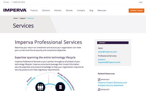 Screenshot of Services Page imperva.com - Professional Services for Your Entire Technology Lifecycle - captured July 10, 2018