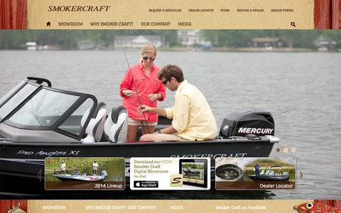 Screenshot of Home Page smokercraft.com - Smoker Craft - captured Sept. 25, 2014