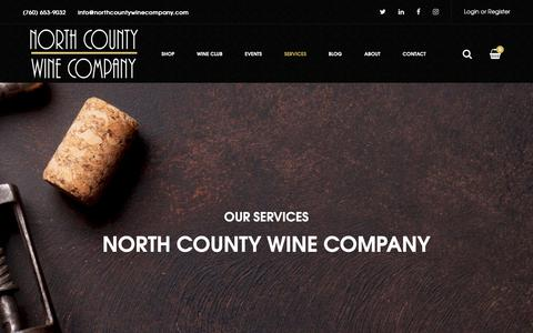 Screenshot of Services Page northcountywinecompany.com - Services - North County Wine Company - captured Nov. 7, 2018