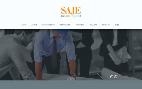 Screenshot of Home Page sajebuild.com - Saje   Design, Build, Transform - captured Sept. 30, 2014