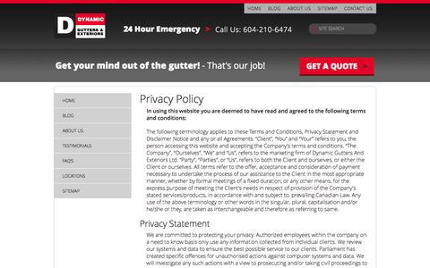 Screenshot of Privacy Page dynamicgutters.com - Privacy Policy - Terms And Conditions Of Use Of This Website - captured Oct. 6, 2014