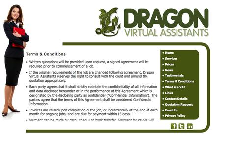 Screenshot of Terms Page dragonvirtualassistants.co.uk - Dragon Virtual Assistants provide  secretarial services, Audio Typing Services, word processing, mailshots and mail merge services, proof reading,research, office management, office administration, invoicing, credit control,Telephone answering, call  - captured Sept. 30, 2014