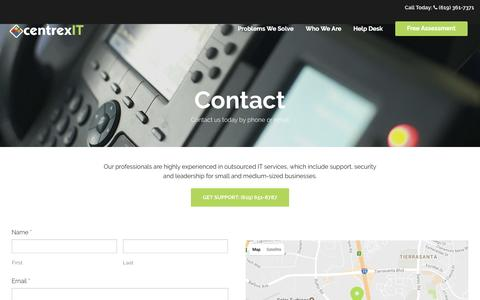 Screenshot of Contact Page centrexit.com - Contact centrexIT - captured April 13, 2017