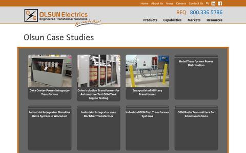 Screenshot of Case Studies Page olsun.com - Case Studies Archives | Olsun Electrics - captured Sept. 27, 2018