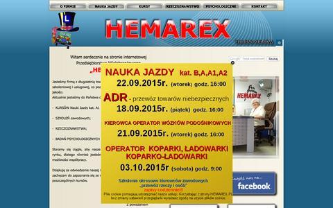 Screenshot of Home Page hemarex.pl - HEMAREX ; KURSY ; SZKOLENIA ; NAUKA JAZDY ; RZECZOZNAWSTWO ; BADANIA PSYCHOLOGICZNE - UNREGISTERED VERSION - captured Sept. 20, 2015