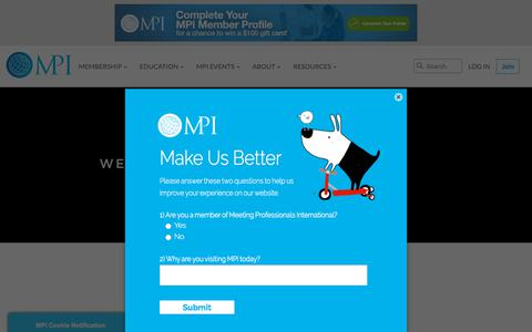 Screenshot of Home Page mpiweb.org - Event & Meeting Planning Networking and Education | Meeting Professionals International - captured Sept. 25, 2018