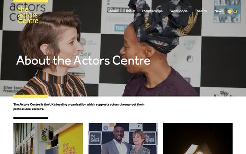 Screenshot of About Page actorscentre.co.uk - About | The Actors Centre - captured July 9, 2019
