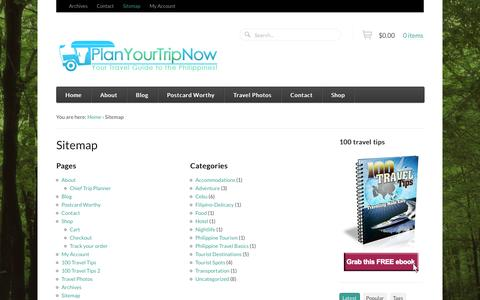 Screenshot of Site Map Page planyourtripnow.com - Sitemap - Plan Your Trip Now - captured Sept. 30, 2014