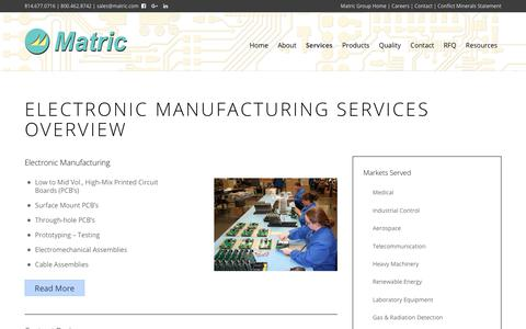 Screenshot of Services Page matric.com - EMS Services in PA   Contract Design, Manufacturing & Aftermarket   Matric - captured Dec. 20, 2018