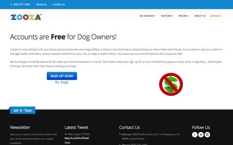 Screenshot of Pricing Page zooza.com - Zooza pricing for dog owners - captured Oct. 7, 2014