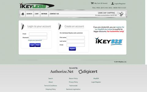 Screenshot of Login Page ikeyless.com - Login to your account - captured Sept. 23, 2014