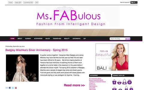 Screenshot of Home Page msfabulous.com - MS. FABULOUS fashion design, indie clothing, style, beauty - captured Sept. 25, 2014