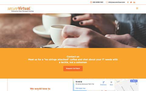 Screenshot of Contact Page securevirtual.com - Contact | secureVirtual - captured July 28, 2018