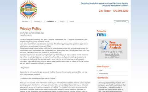 Screenshot of Privacy Page computersuperheroes.com - Privacy Policy - Computer Superheroes - captured May 20, 2017