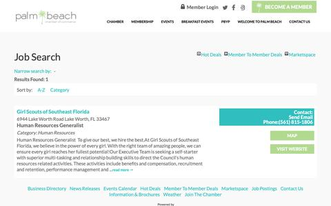 Screenshot of Jobs Page palmbeachchamber.com - Job Search - content | Palm Beach Chamber Of Commerce - captured Oct. 22, 2018