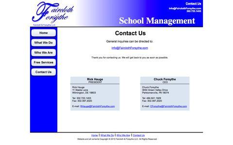 Screenshot of Contact Page fairclothforsythe.com - Faircloth & Forsythe - Contact Us - captured Oct. 5, 2014