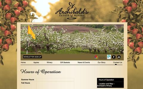 Screenshot of Hours Page archibaldswinery.com - Hours of Operation Archibald Apple Orchard Toronto GTA, Apple Picking Durham, Ontario Winery Archibald's Estate Winery - captured March 10, 2016
