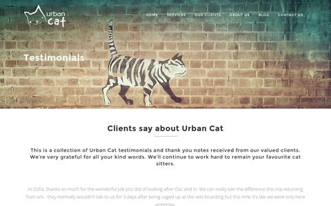 Screenshot of Testimonials Page urbancat.com.au - Urban Cat - Testimonials - Sydney's Favourite Cat Sitting Service - captured Jan. 10, 2016