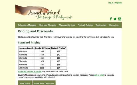 Screenshot of Pricing Page angelshand.net - Pricing and Discounts - Angel's Hand Massage & Bodywork - captured Oct. 8, 2017