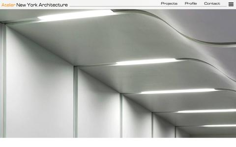 Screenshot of Home Page atelierny.com - Architects | Commercial, Residential, and Healthcare Architecture | Atelier New York Architecture - captured Feb. 6, 2016