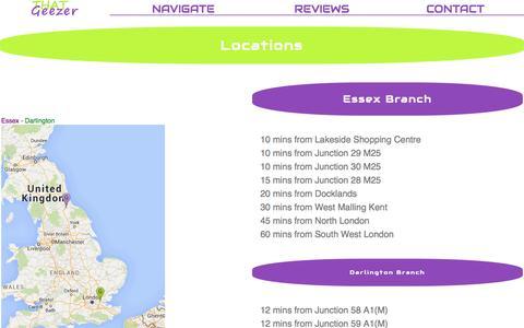 Screenshot of Locations Page thatgeezer.co.uk - That Geezer - Locations - captured Feb. 22, 2016
