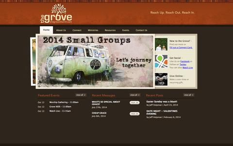 Screenshot of Home Page thegrovechurch.com - The Grove Church // Bryson City, NC - captured Oct. 6, 2014