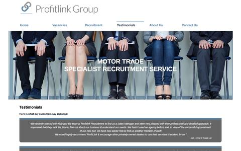 Screenshot of Testimonials Page profitlinkgroup.co.uk - Testimonials for recruitment services to the motor industry - Profitlink Group Ltd - captured July 16, 2016